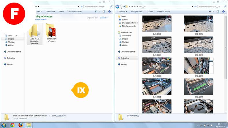 A droite vous pouvez voir les photos à transférer sur votre PC