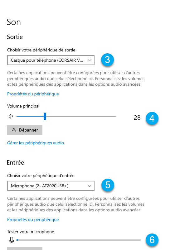 Entrée sorties son de Windows 10
